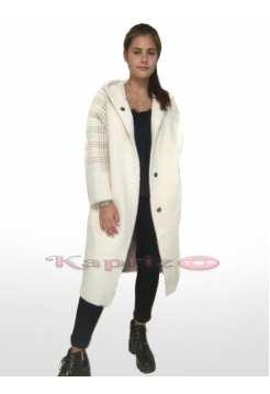 Женское пальто с комбинированной клеткой из шерсти Альпака