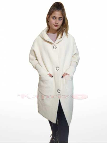 Женское пальто с капюшоном из шерсти Альпака 8400