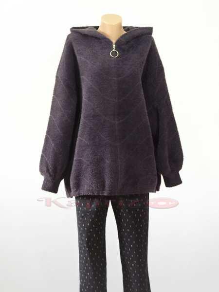 Женский Бомбер из шерсти Альпака с капюшоном больших размеров.
