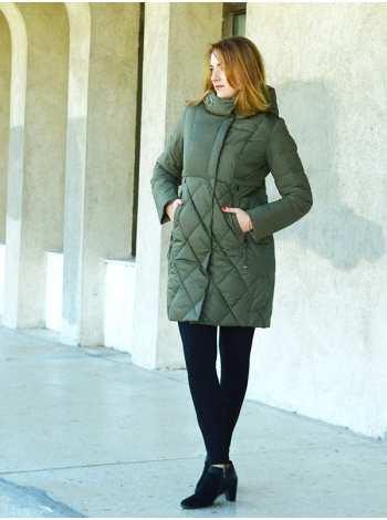 женская молодёжная длинная куртка комбинированная