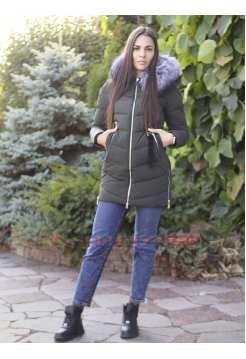 Женская приталенная куртка с мехом Ecaerst 938