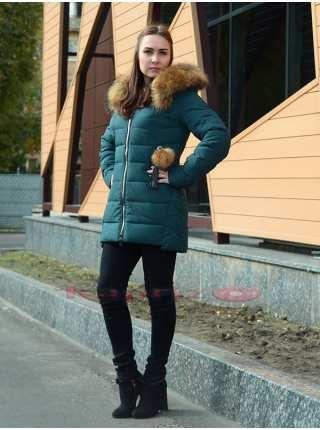 Пуховик женский молодёжный с мехом енота Ommitte 9197