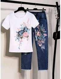 Женский комплект джинсы + футболка из натурального хлопка