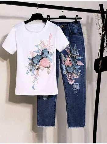 женский комплект джинсы и футболка